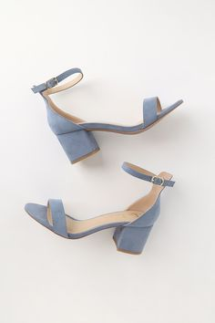 Say hello to your new everyday shoe . the Lulus Harper Blue Suede Ankle Strap Heels! A chic single sole silhouette (with slender toe strap and peep-toe upper) has a structured heel cup, and adjustable ankle strap with gold buckle. Ankle Strap Heels, Ankle Straps, Pumps Heels, Stiletto Heels, High Heels, Shose Heels, Sandal Heels, Red Heels, Strappy Heels