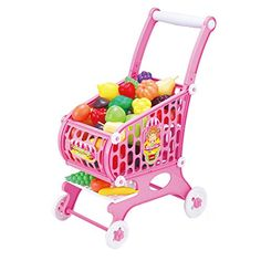 Children play house toy baby girl simulation fruits and vegetables cart -- Click image to review more details.