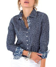 Indigo Stitch Floral Long Button-Up
