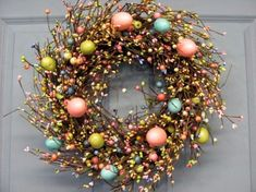 Spring Wreath - Easter Wreath - Pastel Spring EGG Mix Pip Berry Wreath - Primitive Wreaths - Easter Home Decor - Easter Egg Wreath Twig Wreath, Berry Wreath, Door Wreaths, Wreaths For Front Door, Berry Garland, Hoppy Easter, Easter Eggs, Easter Table, Easter Party