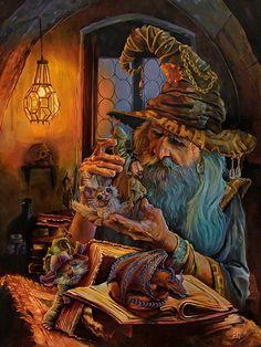 Fantasy art by CecilPorterArt Fantasy Wizard, Fantasy Castle, High Fantasy, Deviant Art, Easy Paintings, Original Paintings, Male Witch, Gandalf, Goblin