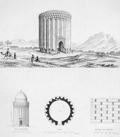 Details of the tower built of brick, Ruins of Rei by Pascal Coste - Tughrul Tower - Wikipedia Brick Architecture, Islamic Architecture, Historical Architecture, Architecture Details, Architecture Portfolio, Pascal Coste, Tower Building, Mystery Of History, Ancient Mysteries