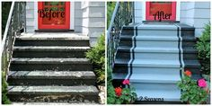 Easy Curb appeal project, concrete paint and it makes a big difference. I'm going to need this for my concrete front porch This Old House, Better Homes And Gardens, Houzz, Concrete Stairs, Painted Concrete Steps, Painting Concrete Porch, Concrete Front Steps, Cement Steps, Brick Edging