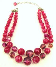 Vintage Coro Pink Bead Necklace Choker 16 inch by JuleesTreasures, $26.99