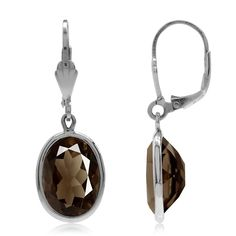 10.44ct. Smoky Quartz 925 Sterling Silver Drop Dangle Leverback Earrings -- Check out this great image  : Fashion Jewelry