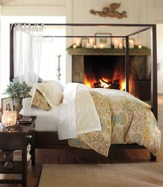 Pottery Barn Farmhouse Canopy Bed from Pottery Barn. Saved to Home: Bedroom. Shop more products from Pottery Barn on Wanelo. Cozy Bedroom, Dream Bedroom, Bedroom Decor, Master Bedroom, Bedroom Ideas, Master Suite, Cottage Bedrooms, Bedroom Designs, Bedroom Inspiration
