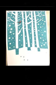 Birch Forest, Winter Sky, Linoprint, Simple Illustration, Stamp Making, Christmas Svg, Linocut Prints, Xmas Cards, Letterpress
