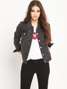 Levi's® Vintage Denim Trucker Jacket - Mountain Black Borrowed from the boys - this vintage denim trucker jacket by Levi's® is perfect for channeling tough girl chic! Its faded wash and slightly relaxed fit lends your look that love-worn vibe that we love from Levi's®, while its heavyweight denim works as hard as you do! Team with black skinnies and a striped tee. Swapping for shorts and wellies when you're making your way to the muddy fields and music! Washing Instructions: Machine…