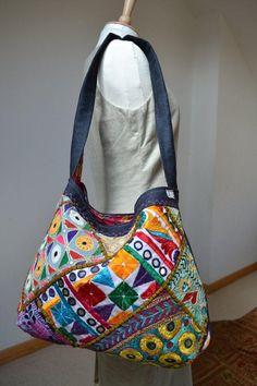 Indian Quilt Patchwork Zari Traditional Mirrow work by margoshka, $42.00