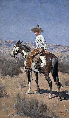 Vaquero 1890 By Frederic Remington - Oil Paintings & Art Reproductions - Reproduction Gallery Frederic Remington, Famous Art Paintings, Oil Paintings, Horse Paintings, Westerns, Into The West, Cowboy Art, Horse Drawings, Southwest Art
