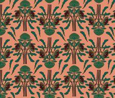 Dark waratah fabric by su_g on Spoonflower - custom fabric