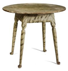 NEW ENGLAND QUEEN ANNE TURNED AND PAINTED PINE AND MAPLE TAVERN TABLE WITH SMOKE-DECORATION.