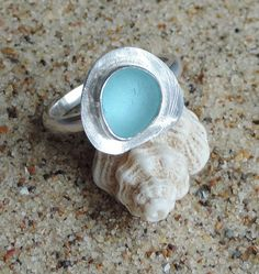 Handmade Sterling silver and genuine sea glass ring - Small Aqua on Etsy, £28.00
