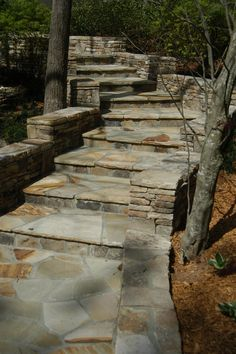 Staircase and low walls with variegated Crab Orchard flagstone.