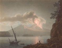 Eruption on Vesuvius by Night, 1793 by Giovanni Battista Lusieri (Italian 1755-1821)
