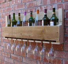 Simply Rustic Reclaimed Wood Wall Mount Wine Rack with by KeoDecor, $75.00