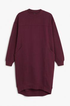Monki Image 1 of Sweatshirt dress in Red Bluish Dark