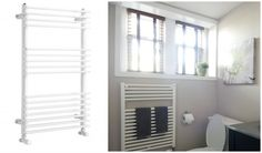 Heated Towel Rack can replace an electric baseboard heater in a small bathroom - Scott McGillivray - Making a tiny bathroom seem larger