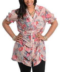 Love this Light Pink Floral Button-Up Top - Plus on #zulily! #zulilyfinds