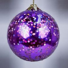 Purple Glitter Christmas Ornament