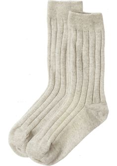 CASHMERE BED SOCKS | Ribbed cashmere blend bed socks with finely ribbed ankle cuff.