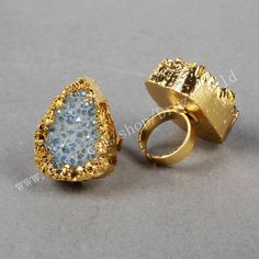 Unique Gold Plated Natural Transparent Blue Big Druzy Agate Ring Natural Golden Plating Ring Gemtone Jewelry Making Jewelry Sparkle Druzy by Druzyworld on Etsy
