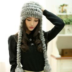 Hat female autumn and winter rabbit fur hat fur knitted hat women's thermal knitted ear protector cap