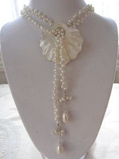 Mother of a pearl lariat by LorenzoLogassio on Etsy, $220.00