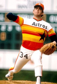 Nolan Ryan: Another famous #34. The Ryan Express in his Houston Astros days
