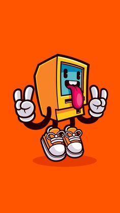 Computer Rock by cronobreaker on DeviantArt Graffiti Doodles, Graffiti Drawing, Graffiti Art, Doodle Art Drawing, Art Drawings, Vexx Art, Character Art, Character Design, Posca Art