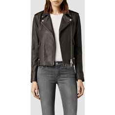 AllSaints Drew Biker Jacket ($416) ❤ liked on Polyvore featuring outerwear, jackets, granite, genuine leather jacket, biker jacket, leather biker jacket, allsaints and leather jacket