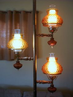 Vintage 60s 70s Tension Pole Lamp W Amber Glass Shades 3 Way Switch In 2019 Vintage Lamps