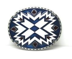 Celtic Circular Pattern x Cross Blue and White Oval Mens Belt Buckle | eBay