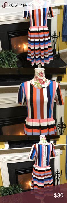 LulaRoe Amelia Dress This LulaRoe Dress is like new! It has wide stripes and zips up the back! LuLaRoe Dresses