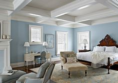 Ideas: Bedroom Design With White Mattress And Wood Headboard Design Also Stylish Light Ceiling With Cool Blue Walls And Dark Flooring With Rug: Gorgeous Ceiling Design Ideas to Beautify Your Home Blue Master Bedroom, Blue Bedroom Decor, Bedroom Colors, Girls Bedroom, White Bedroom, Calm Bedroom, Master Room, Pretty Bedroom, Large Bedroom