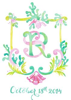 #customcrest #weddingcrest #kearsleylloyd #bermudawedding #pinkandgreen…