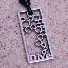Scuba Diving Sterling Silver Dive Pendant with leather cord