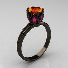 Classic 14K Black Gold Marquise Pink Sapphire 1.0 Carat Orange Sapphire Solitaire Ring R90-14KBGPSOS. $1,899.00, via Etsy.