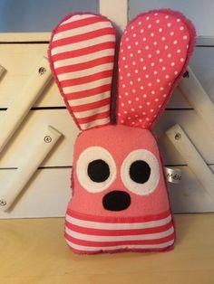 Jouet d'éveil lapin rose rayé pouêt pouêt : Jeux, peluches, doudous par melomelie