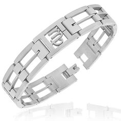 """Stainless Steel Silver-Tone Link Chain Zodiac Sign Virgo Mens Bracelet with Clasp. """"Zodiac Virgo Bracelet"""" by My Daily Styles. Material: Stainless Steel. Length: 8.00in. Width: 0.55in. Origin: Imported."""