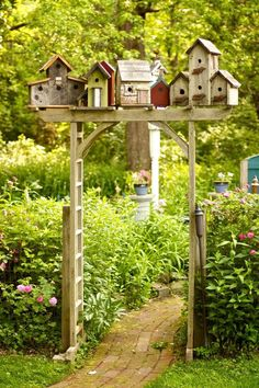 village garden arbor - I just have to do this in my backyard! - Gardening In LightsBirdhouse village garden arbor - I just have to do this in my backyard! - Gardening In Lights Outdoor Projects, Garden Projects, Diy Projects, Project Ideas, Outdoor Ideas, House Projects, Yard Art, Brick Path, Brick Garden