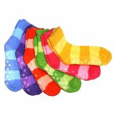 Super Soft Fuzzy Anti Grip Socks Size 9-11 Striped 6 by gilbin