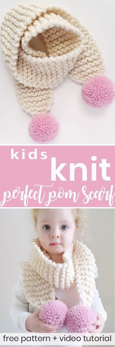 Knit this kids perfect pom pom scarf in the perfect toddler child size with the most beautiful poms! Free knitting pattern and video tutorial from Sewrella + Knifty Knittings! #knittingtutorials