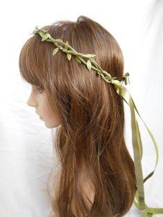 Green Leaf Headband Elfin Leaves Crown Woodland by FlowerFair, $19.95