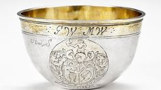 Silberschale, silber vergoldet, aus dem norwegischen KODE Museum Norwegisches Heraldikmotiv