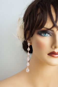 Statement bridal earrings Rose gold colored