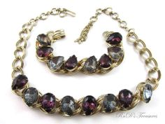 Vintage Purple & Blue Rhinestone Pear Chunky Gold Tone Necklace & Bracelet SET