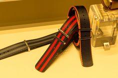 OMEGA brand NATO strap - polyamide 5-stripe black & red.