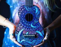 Painted Ukulele- by Salty Hippie Guitar Painting, Guitar Art, Arte Do Ukulele, Luna Ukulele, Ukulele Chords, Painted Ukulele, Painted Guitars, Sharpie Designs, Ukulele Design
