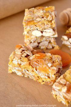 Barres de cereales maison, aux abricots secs.